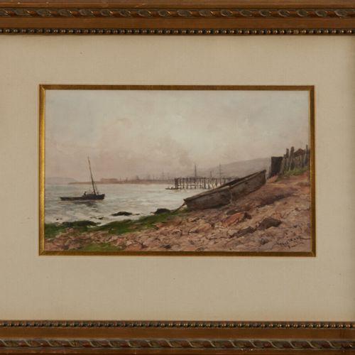 ROUX Paul (1845 1918) «Bateaux au mouillage à Brest» aquarelle signée en bas à d…