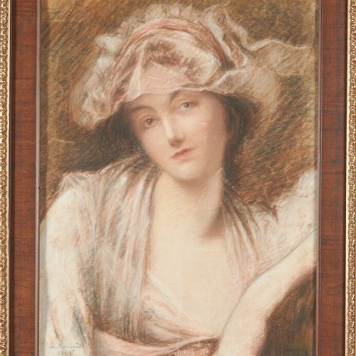 BARONET W. «Jeune femme pensive» pastel signé en bas à gauche et daté 1898 (acci…
