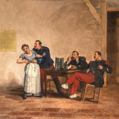 Alfred Émile GAUBAULT (1879 1895) La joyeuse compagnie Huile sur panneau, signé …