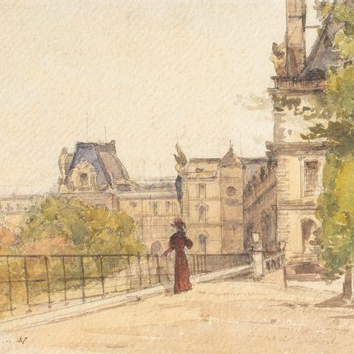 Attribué à Henri HARPIGNIES (1819 1916) Elégante devant les Tuileries Aquarelle …