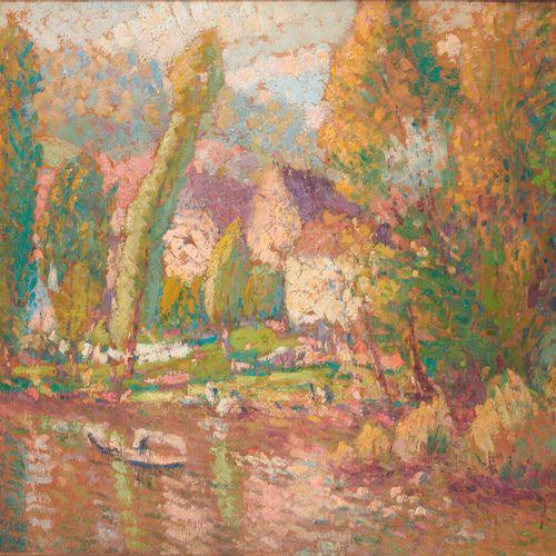LÉPINE JOSEPH (1867 1943) «Barque sur la rivière» Huile sur panneau signée en ba…
