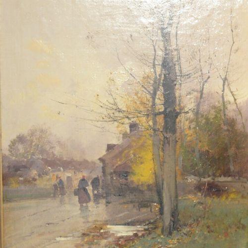 Eugène GALIEN LALOUE (1854 1941) Village animé sous la pluie Huile sur toile, si…