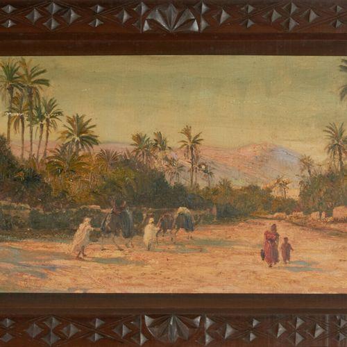 DARLEY Jean (act.C.1886 1932) «Chemin animé en Afrique du Nord» Huile sur toile …