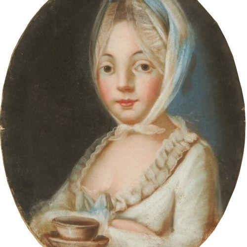 ECOLE FRANCAISE DU XIXème siècle Portrait de jeune fille tenant une tasse de cho…