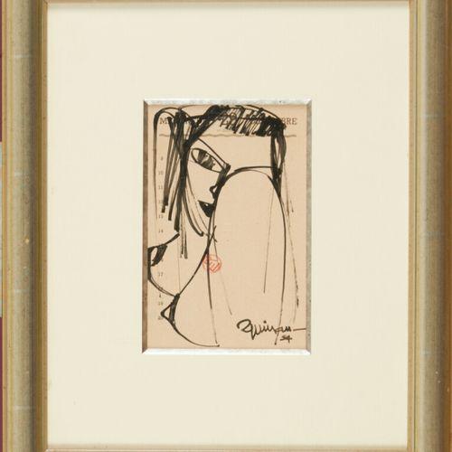 ESPINASSE Raymond (1897 1985) Portrait Dessin au feutre, signé en bas à droite e…
