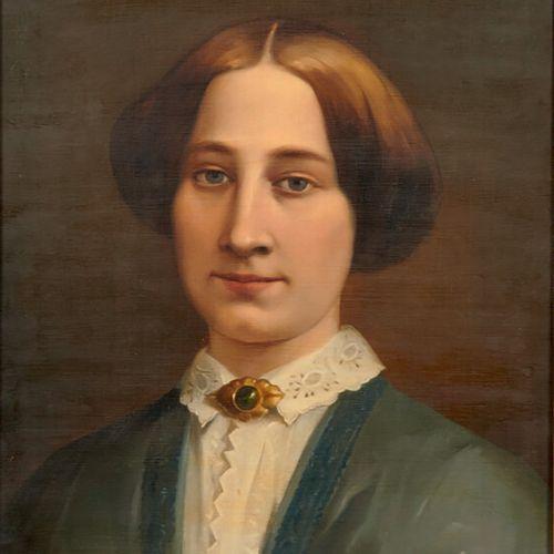 Ecole XIXème «Portrait d'officier et de jeune femme» Deux huiles sur toile forma…