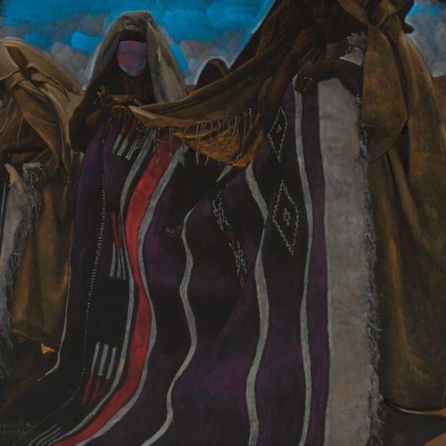 MAJORELLE Jacques (1886 1962) Marrakech: Les marchandes de tapis Pastel, signé e…