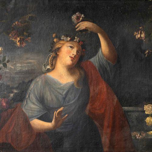 Dans le goût de l'école FRANÇAISE du XVIIIème siècle Nymphe jouant avec des fleu…