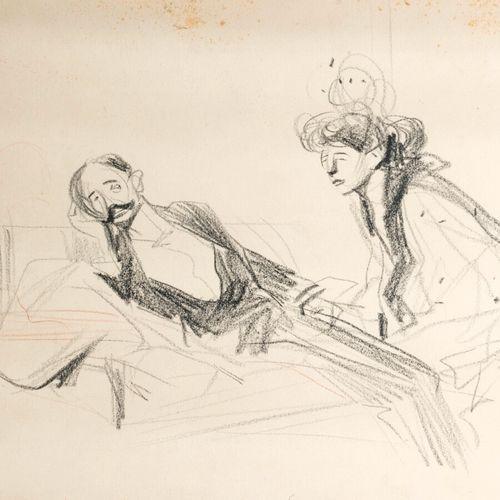 Jean Louis FORAIN (1852 1931) La visite Fusain, signé en bas à droite 30 x 46 cm…