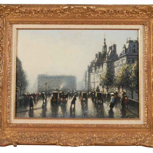 SUNYER MIRO Joaquin (1874 1956) «Devant l'hôtel de Ville à Paris» Huile sur toil…