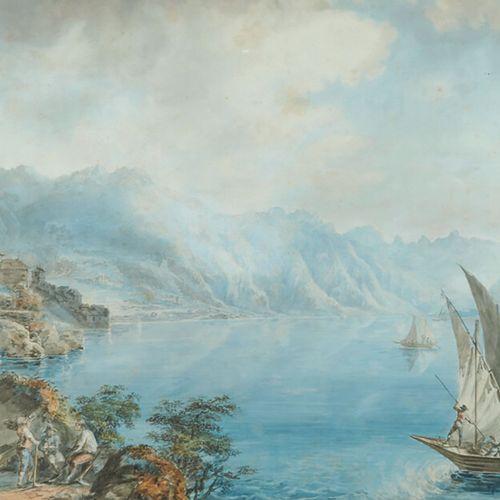 ÉCOLE SUISSE du XIXe siècle Paysage de montagne animé en bord de lac Aquarelle, …