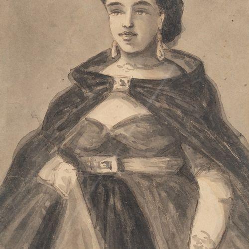 Constantin GUYS (1802/05 1892) L'élégante Lavis d'encre, non signé 24 x 17 cm Au…