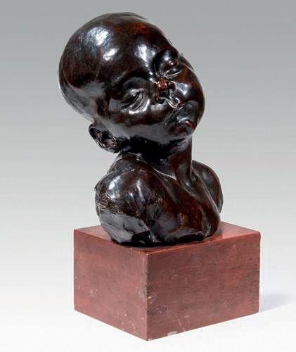DALOU Aimé Jules (1838 1902 Français) Buste de Bébé endormi Bronze à patine brun…