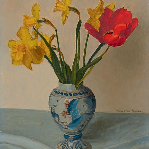 ROUART Augustin (1907 1997) «Fleurs dans un vase» Huile sur panneau d'isorel sig…
