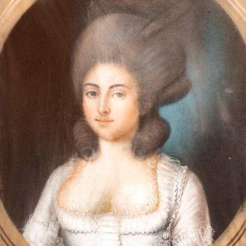 ECOLE FRANCAISE XVIIIEME SIECLE Portrait de femme à la robe blanche Pastel sur p…