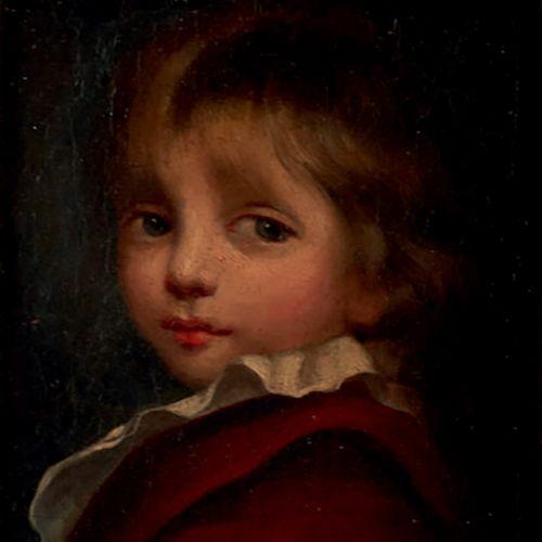 Ecole XIXème «Portrait d'enfant» Huile sur toile 9 x16,5 cm