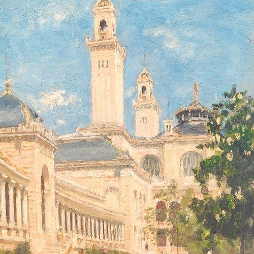 STANISLAS LEPINE (1835 1892) Le jardin du Trocadéro Huile sur panneau parqueté, …