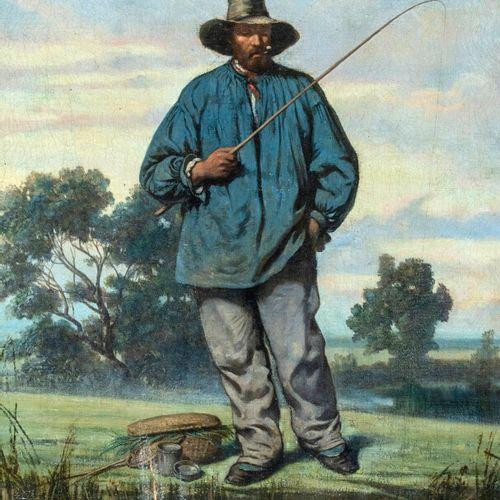Ecole française vers 1850 Le pêcheur à la ligne Huile sur toile 47 x 30 cm