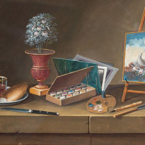 PAUL LELONG (1799 1846) Nature morte à la mandoline, aux pêches et vases fleuris…