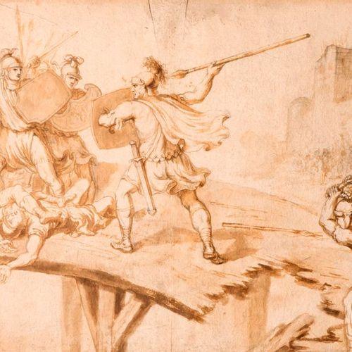 Ecole italienne du XVIIe siècle La bataille du Ponte Milvius Plume, encre brune …