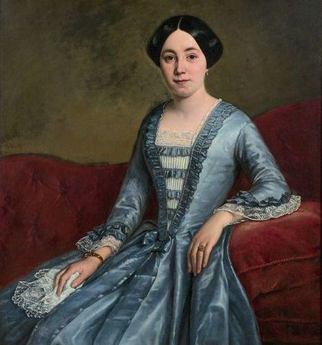 Melchior PERONARD (act. 1831 1880): PORTRAIT DE FEMME TENANT UN MOUCHOIR DE DENT…