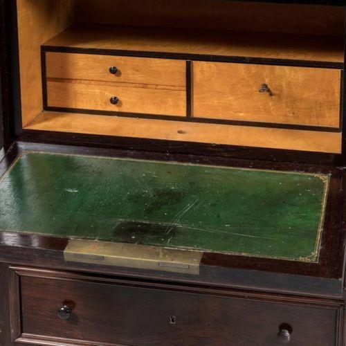 Secretary desk with flap simulating a mahogany and mahogany veneer chiffonnier, …