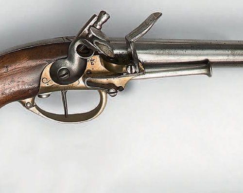 Pistolet à silex de cavalerie modèle 1777 à coffre, canon à deux pans puis rond,…