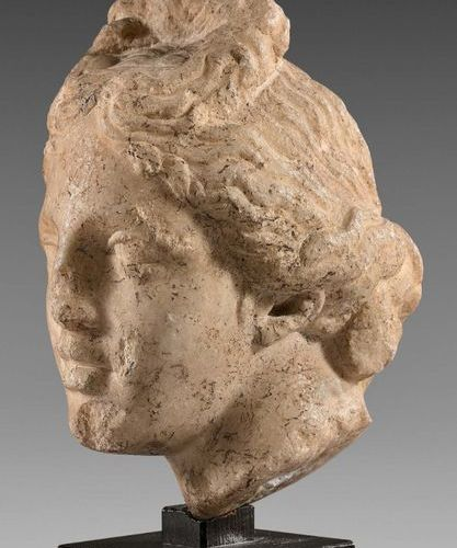 Aphrodite's head topped with a top bun and thick wavy strands gathered behind th…
