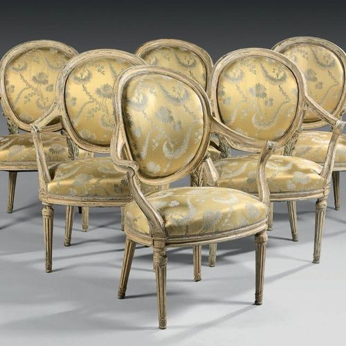 Suite of six medallion armchairs with backrests in a cabriolet in moulded and sc…