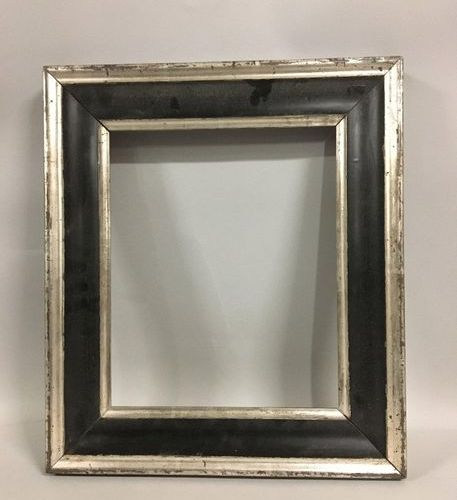 Silver and blackened moulded wooden frame.  Germany, 19th century.  28 x 23 x 6 …