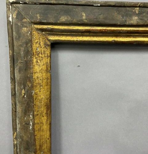 Gilded molded wood frame with faux marble frame and entablature.  16th, 20th cen…