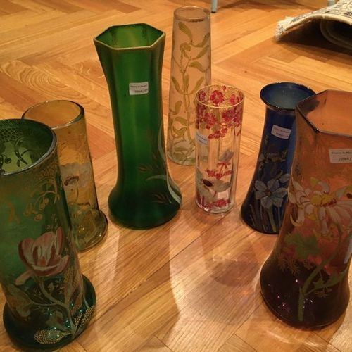 Seven enamelled vases  Around 1900  The smallest: 20cm  Largest: 30 cm Sold …