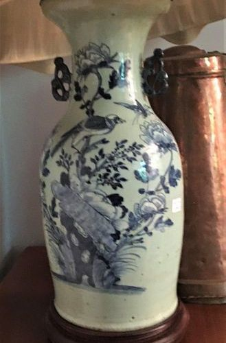 China vase mounted as a lamp  Height without plinth: 43 cm Sold as is