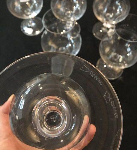 DAUM France, set of 6 stemmed baluster glasses. Three BAYEL France glasses are a…