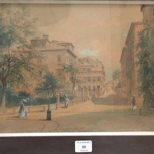 École FRANÇAISE circa 1880 Walkers in a street Gouache on black pencil strokes o…