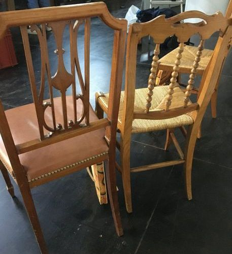 Pair of straw chairs  A Louis XVI style chair with an openwork back is attached…
