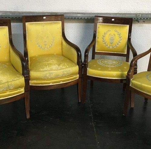 Two shepherds and two armchairs  Restoration Period  Yellow silk trim  H: 90 …
