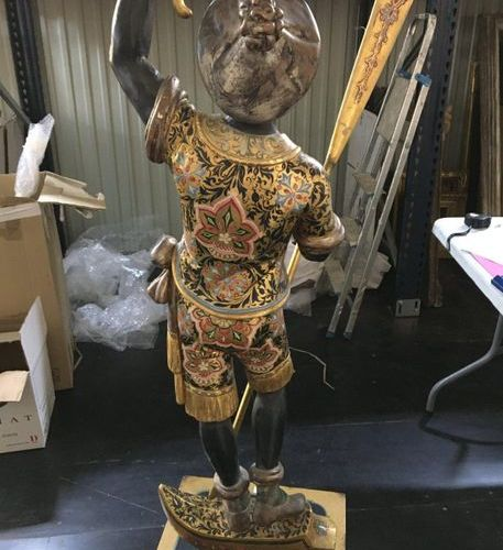 VENICE  Gondolier in gilded and lacquered wood  XIXth  H: 155cm Accidents S…