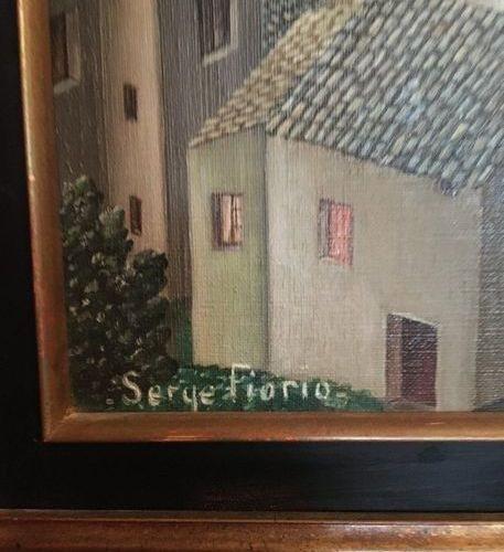Serge FIORIO Naive school  Village view  HST SBG  44x36,5  LOT 1