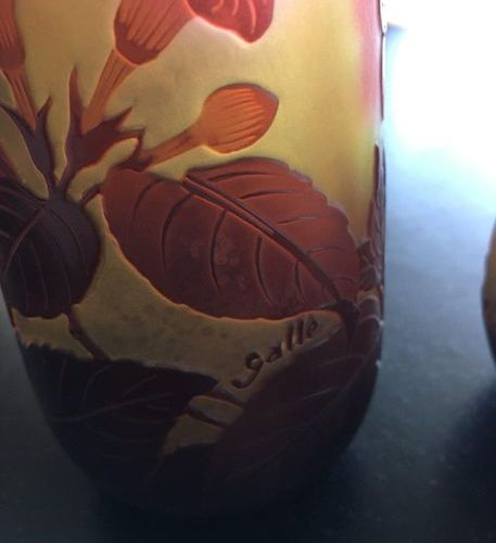E. GALLE Vase with GALLE signature  H:21  LOT 41 Sold as is