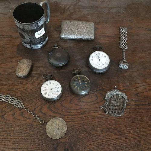 4 pocket watches, a metal purse, metal match case, metal tray, metal cigarette c…