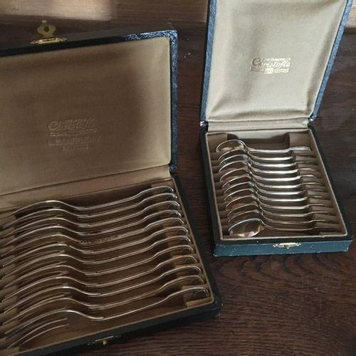 Silver plated metal cutlery  Christofle box