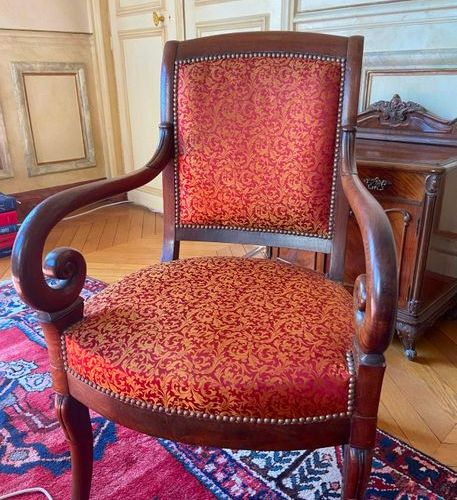 Four armchairs with curved backs, lacrosse armrests, restoration style silk upho…