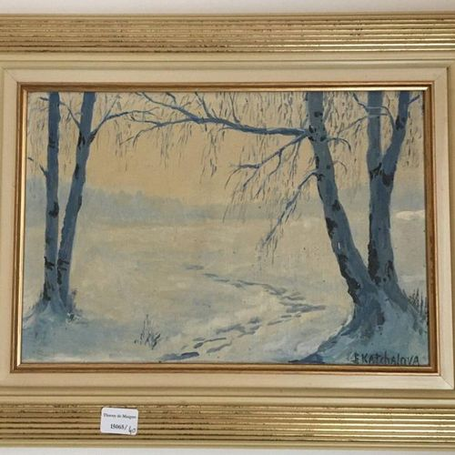 Ecole Moderne Three paintings:  Snow view, abstract landscape, characters  48x48…