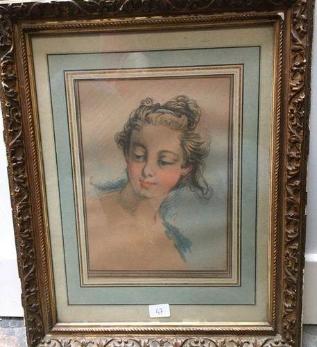 Portrait of a woman after BOUCHER, colour engraving