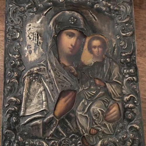 Virgin and Child Icon  Russia  XIX XX  It includes a religious figure  22x17.5 c…