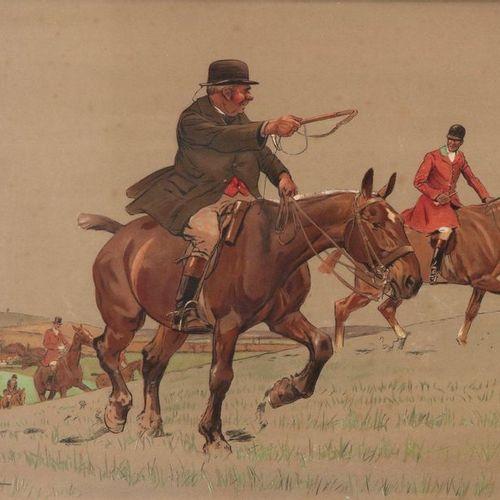 Lionel EDWARDS. The MPH / Old Mr Barleycon. Paire de gravures en couleur encadré…