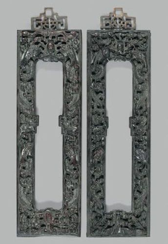 CHINE Pair of zitan wood frames with rich decoration of animated dragon scrolls …