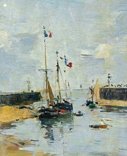 Eugène BOUDIN (1824 1898) Trouville, les jetées, marée basse, 1894 Oil on panel,…