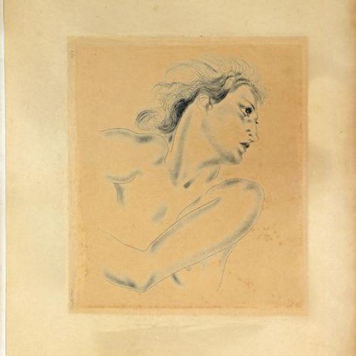 Tsuguharu FOUJITA (1886 1968) Profil de Femme, 1930 Etching and colour roulette …